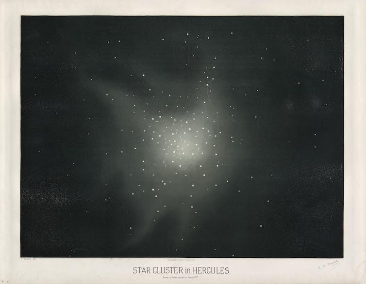 Star cluster Messier 13 in Hercules, 1877