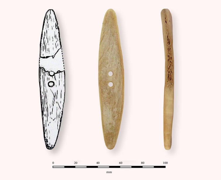 One of the Klasies River spinning discs and the replica built for the recording studio. Kumbani et al (2019), Journal of Archaeological Science: Reports