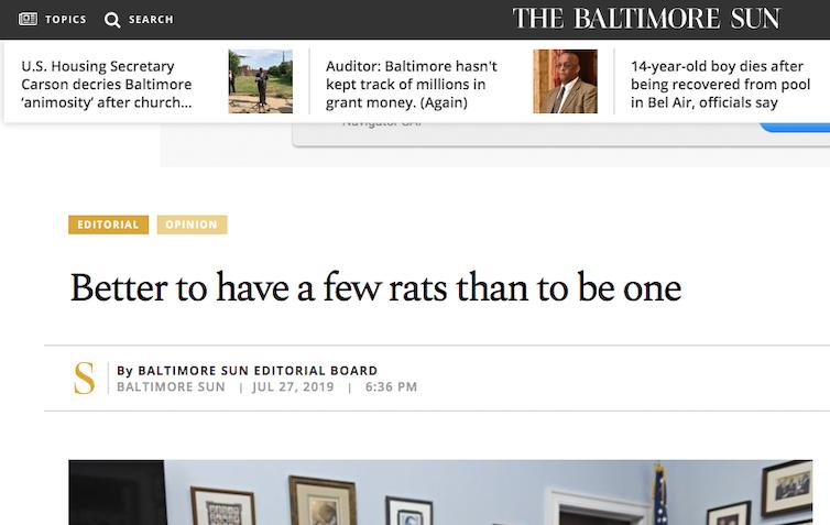 Baltimore Sun screenshot