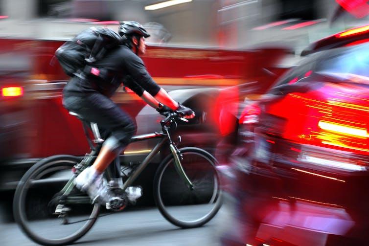 A bike commuter