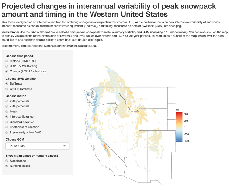 Screenshot of interactive data visualization tool developed for the snow drought study. Source: Adrienne Marshall, CC BY-ND