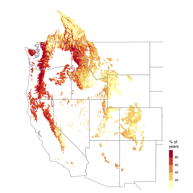 Under a high-emission scenario, the West could experience multiyear snow drought 42% of the time on average. Source: Marshall et al., 2019., CC BY-ND