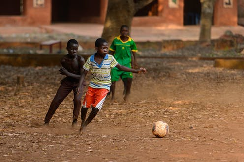 Beninese children play football in Bohicon.