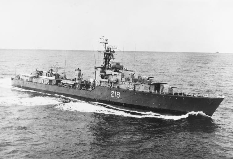 Demara worked aboard HMCS Cayuga as ship's doctor (pictured in 1954).