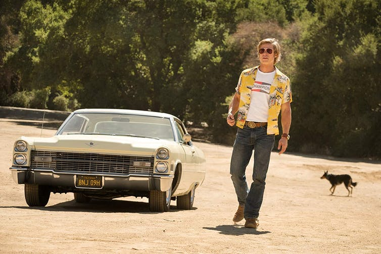 brad pitt in Quentin Tarantino's film once upon a time in Hollywood
