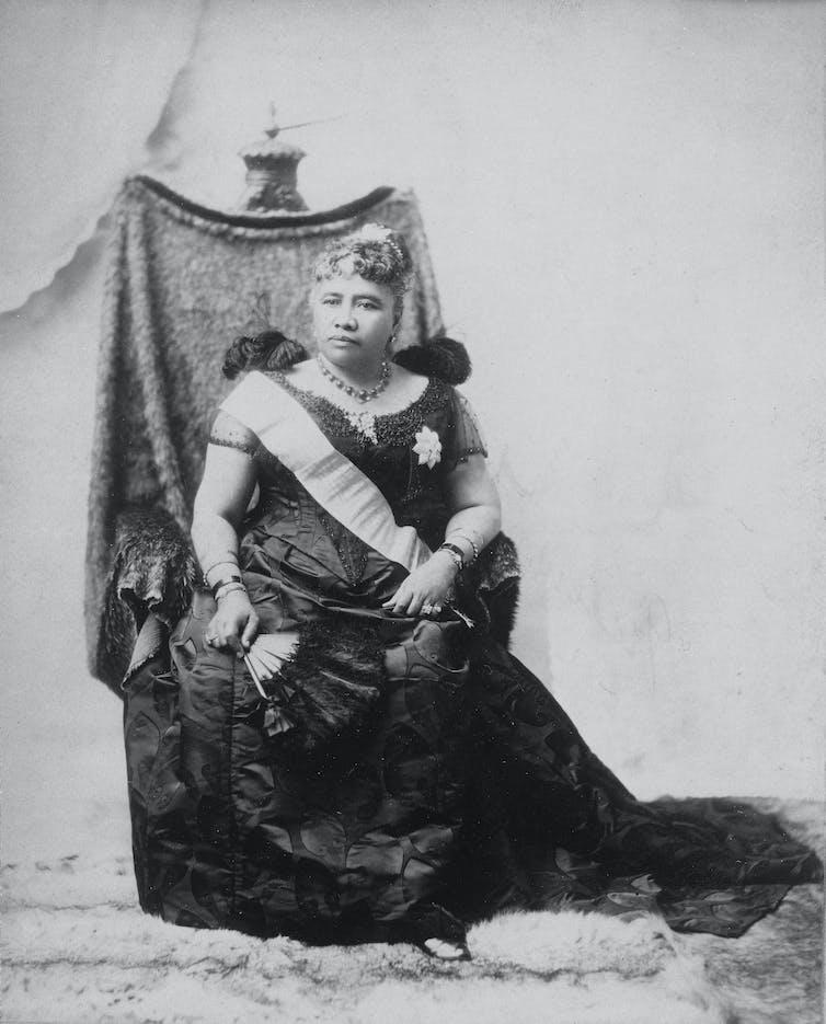 Queen Liliʻuokalani, the last monarch of the Kingdom of Hawaii, photographed around 1891. Wikimedia Commons