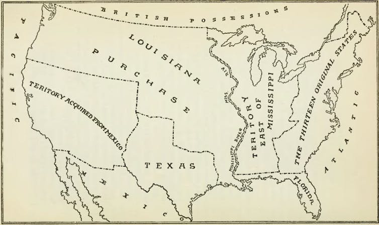 This map from 1903 shows the extent of the Louisiana Purchase.  Wikimedia Commons