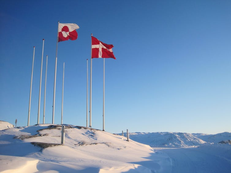 The Greenlandic and Danish flags flying together. Pixabay, CC BY
