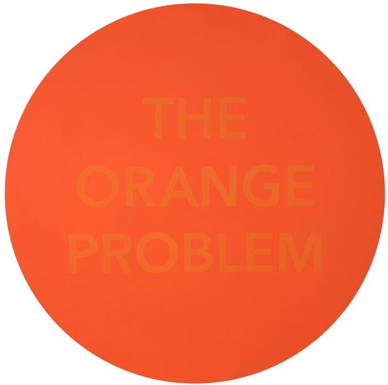 The Orange Problem, 2019, Acrylic on panel, 72 x 72 cm. © Robert Pepperell 2019. The author