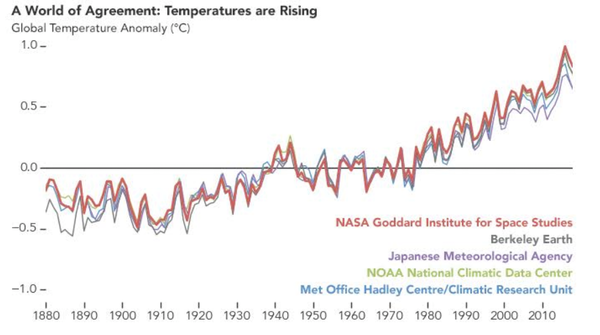 Reconstruction of global temperatures from 1880 to 2018 by five independent international groups of scientists. NASA, CC BY
