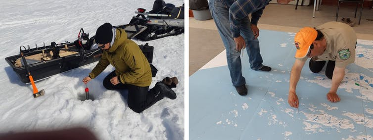 Community member from Nain, Nunatsiavut deploying a conductivity-temperature-depth instrument through the coastal sea ice (left). Documenting community knowledge of ocean currents and sea ice in Hopedale, Nunatsiavut (right). - Eric Oliver, Author provided