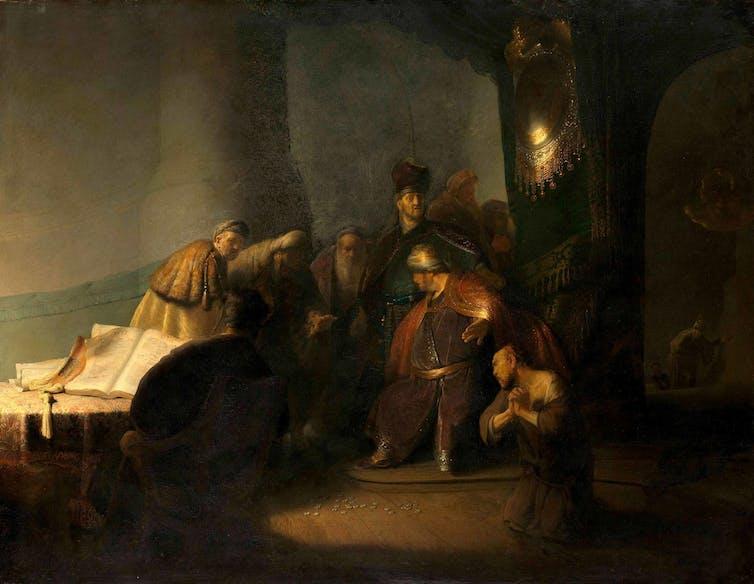 Rembrandt van Rijn, 'Judas Returning the Thirty Pieces of Silver', around 1629, oil on panel