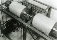 The drums of the first modern electronic digital computer: the Atanasoff–Berry computer.