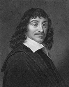 Illustration of man with long hair, René Descartes.