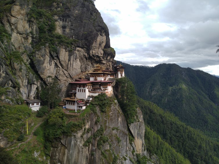 White houses in the mountains in Bhutan
