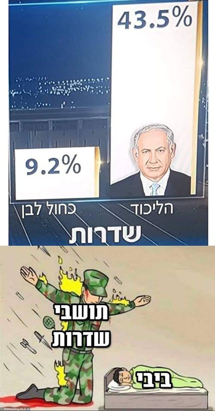 Montage photo ayant circulé sur les réseaux sociaux en avril 2019. En haut, les résultats pour le Likoud (43,5%) et le parti Bleu Blanc (9,2%) dans la ville de Sderot. En bas, les résidents de Sderot en proie aux tirs venant de la bande de Gaza, alors que M. Nétanyahou (Bibi) dort.