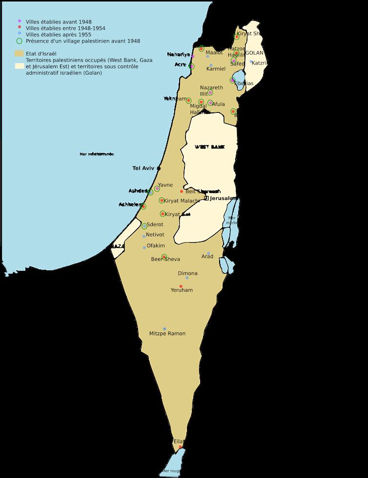Les villes de développement en Israël (carte réalisée par l'auteure en 2019).