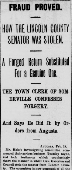 The Portland Daily Press of Dec. 24, 1879, covered a story about the charges that the legislative election was stolen by Garcelon and his allies. Library of Congress