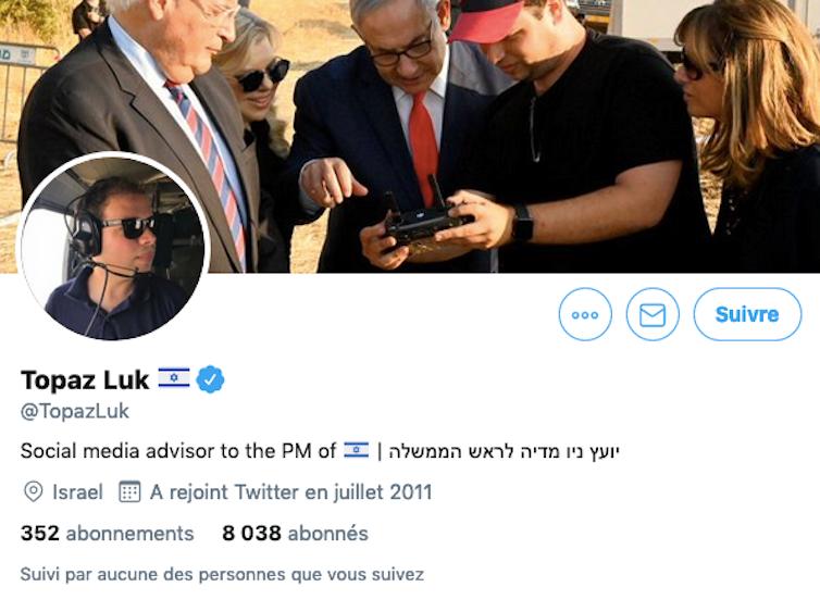 Compte Twitter de Topaz Luk, jeune recrue de l'équipe de communication de Nétanyahou. Twitter