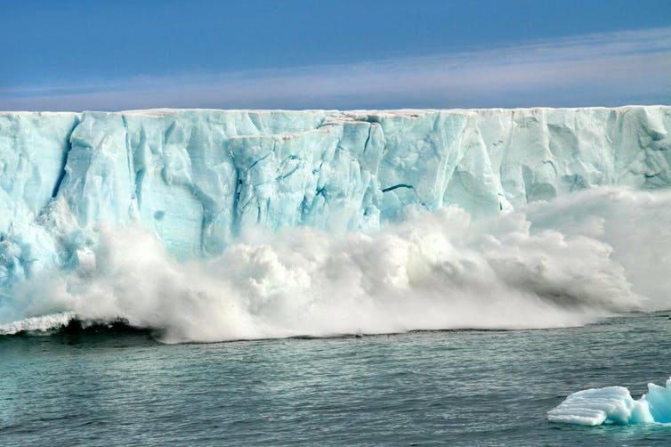 ice melting and causing rising sea level