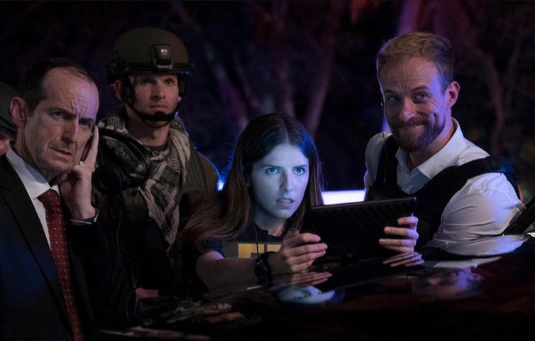 Anna Kendrick, Denis O'Hare, Isaiah Stratton, and Adam David Thompson in The Day Shall Come (2019).