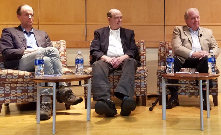 From left, NSA whistleblowers Thomas Drake, William Binney and Kirk Wiebe, who all alleged retaliation from the government.