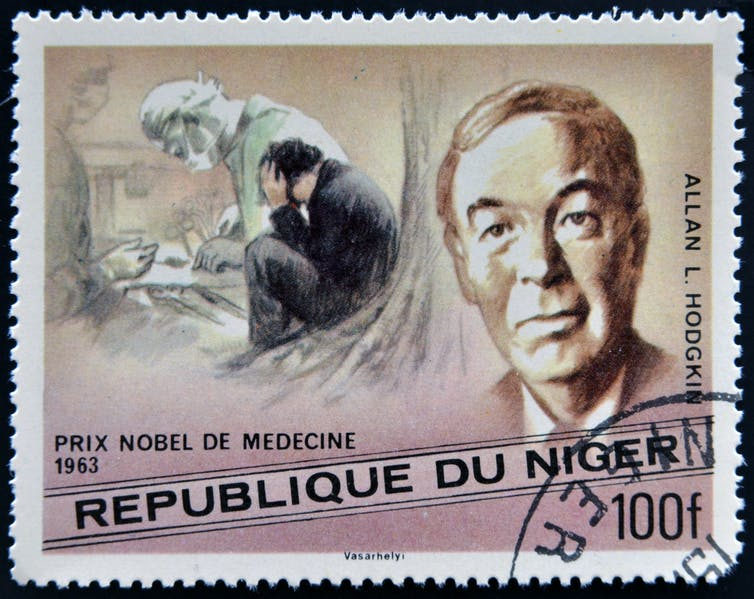 Stamp printed in Niger showing four illustrations of men