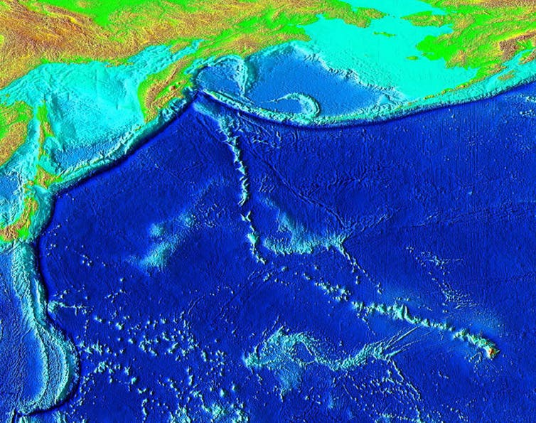 The Emperor Seamounts are a trail of underwater mountains in the Pacific, created when a tectonic plate moved across the Hawaii hotspot over millions of years. NOAA