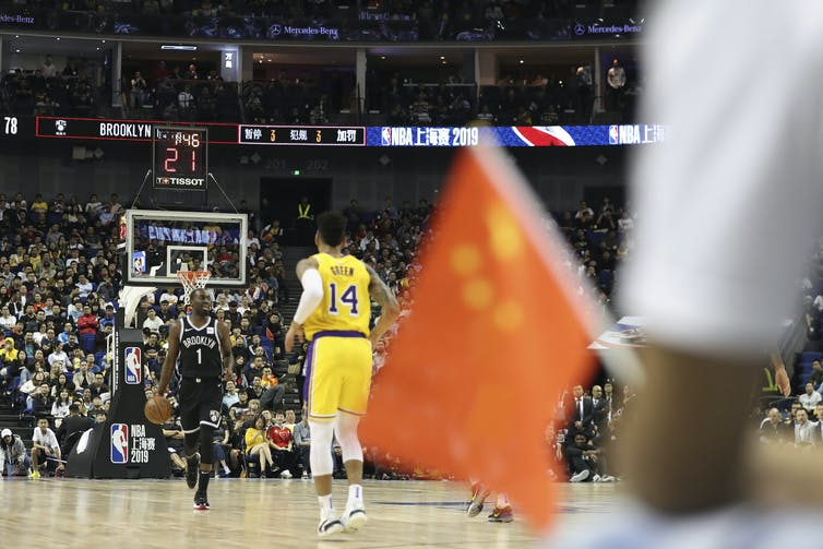 The Brooklyn Nets play against the Los Angeles Lakers during a preseason NBA game in Shanghai, China. AP Photo