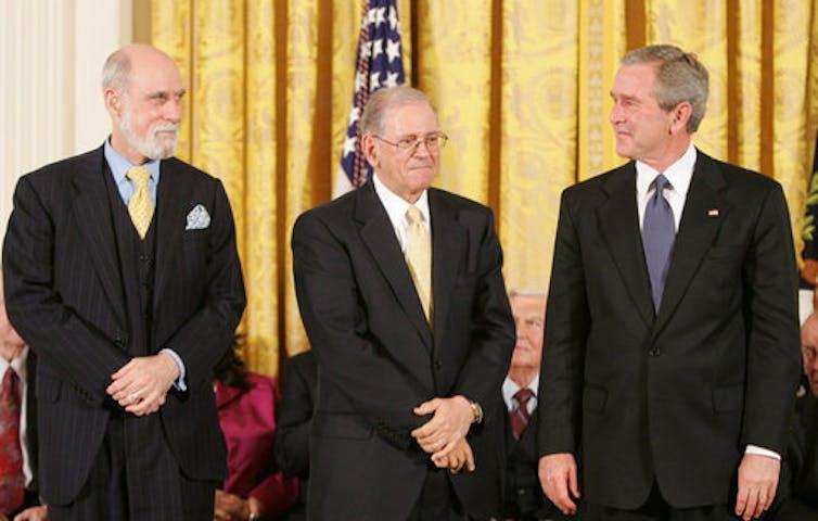 Vinton Cerf and Robert Kahn with President George W. Bush