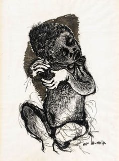 On original drawing by Dumile Feni (1942 - 1991) called Seated Child (1966) Strauss & Co