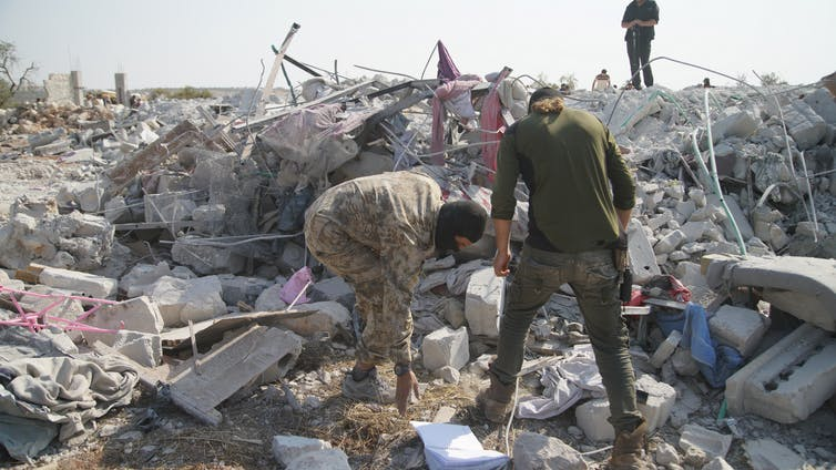 Aftermath of the attack that reportedly kill al-Baghdadi near the village of Barisha, Syria. Yahya Nemah/EPA
