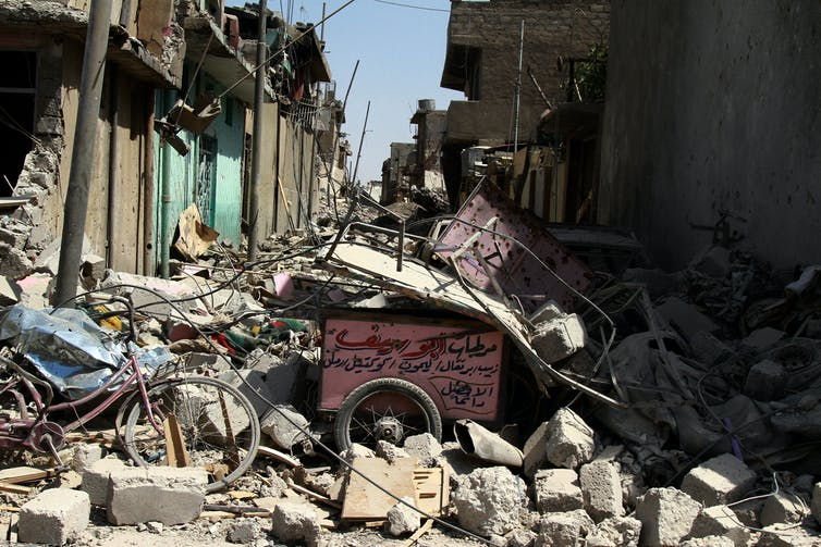 A street in the old quarter of Mosul, destroyed during the battle with IS. EPA