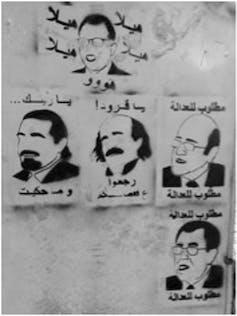 Liban. Représentations de plusieurs personnalités de la politique libanaise, légendées «Recherchés par la justice», Beyrouth, fin octobre 2019. Jihane Sfeir, Author provided