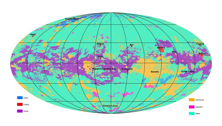 Global map of Titan's major geomorphologic units. NASA/JPL/ASU, CC BY-SA