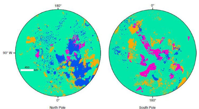 Area within 35 degrees of each of Titan's poles. There are many more lakes in the north than in the south. Lopes et al. (2019), nature