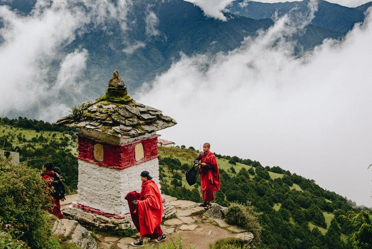 Teenage monks in the mountains in Bhutan
