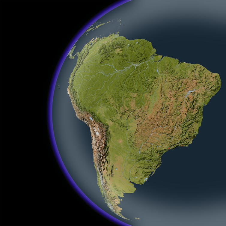South America: the Andes mountains run along the western edge of the Amazon basin (centre)