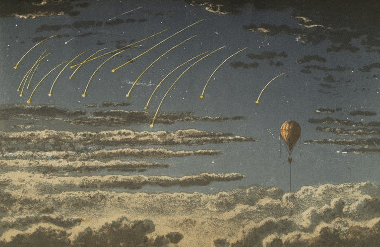 A lithograph from Gaston Tissandier's balloon travels depicts falling stars. Archive.org