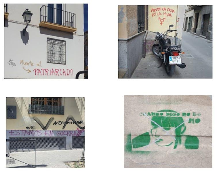 Ejemplos de graffiti feminista.Carmen Aguilera-Carnerero,Author provided