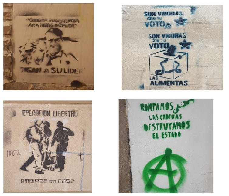 Ejemplos de graffiti antisistema.Carmen Aguilera-Carnerero,Author provided