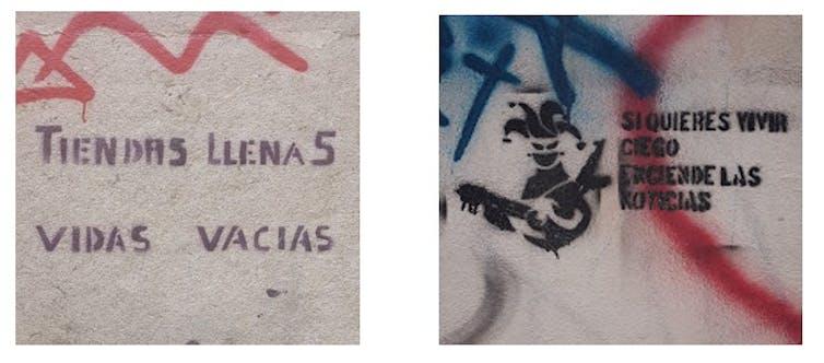Ejemplos de graffiti anticapitalista.Carmen Aguilera-Carnerero,Author provided