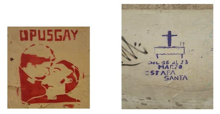 Ejemplos de graffiti anticlerical.Carmen Aguilera-Carnerero,Author provided