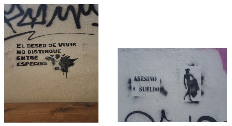 Ejemplos de graffiti proderechos de los animales.Carmen Aguilera-Carnerero,Author provided