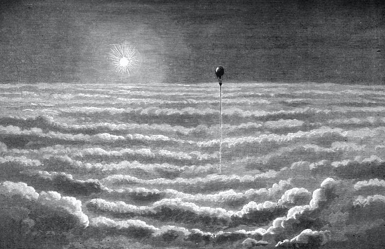 A drawing of dreamlike clouds from the travels of Wilfrid de Fonvielle and Gaston Tissandier. 'Travels in the Air'