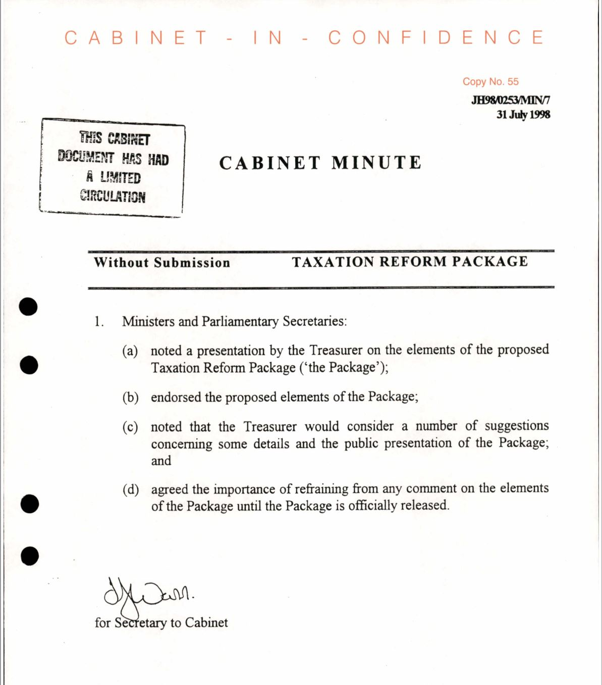 Cabinet papers 1998-99: How the GST became unstoppable_1