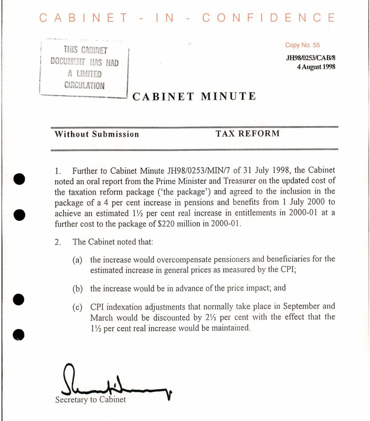 Cabinet papers 1998-99: How the GST became unstoppable_2