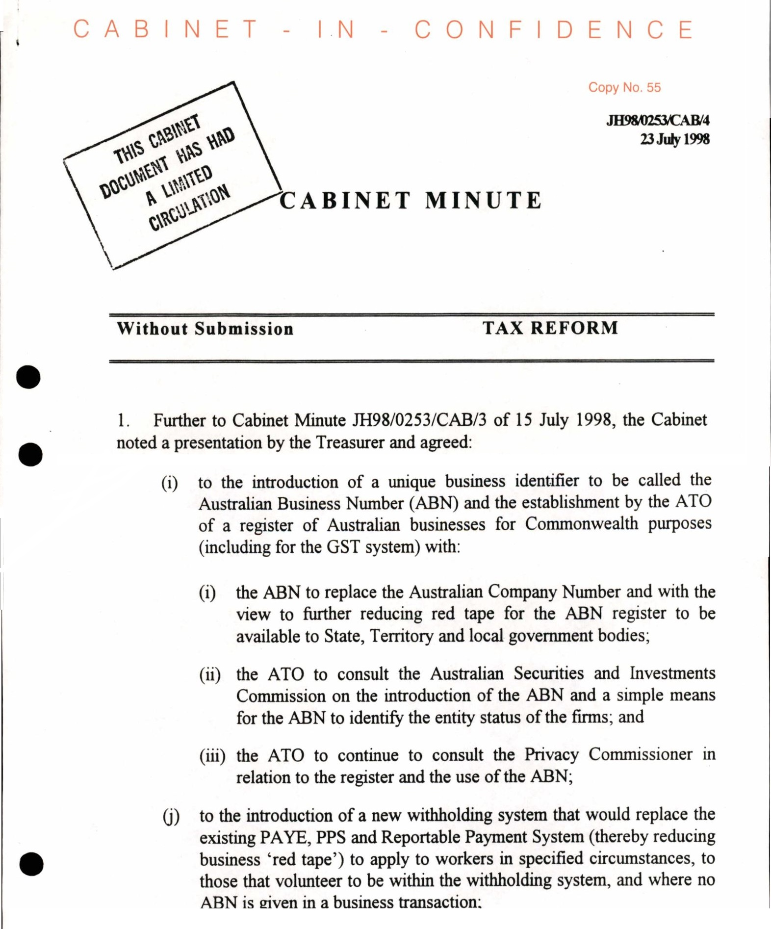 Cabinet papers 1998-99: How the GST became unstoppable_3