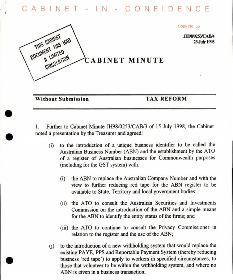 Cabinet papers 1998-99: how the GST became unstoppable