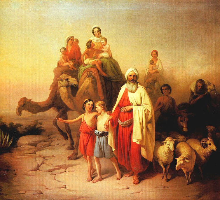 Painting of large family of ancient Middle Eastern travellers.